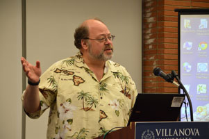 "Aaron Bauer, department of biology, and others gave eight minute ""lightening talks."""