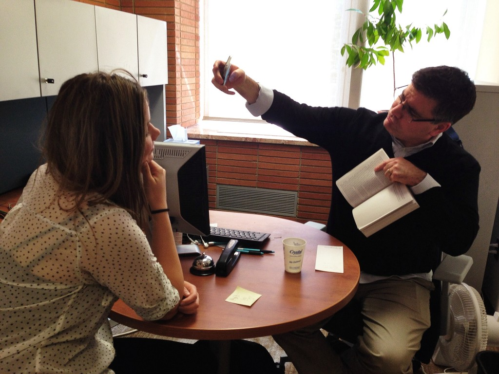 Librarian Robert LeBlanc demonstrating the finer details of an AFD Selfie Citation