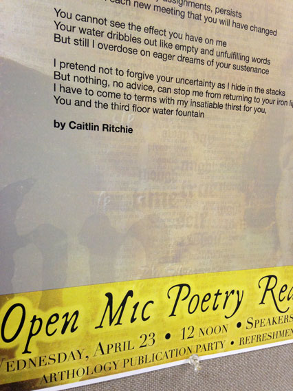 Complete poem can be found hanging on the first floor of Falvey Library.
