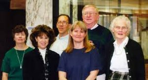The Periodical Department in 1999. (L-R) Natalie Tomasco, Susan Markley, Bill Greene, Laura Hutelmyer, Jim Fox and Betty Lane.