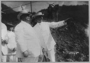 William Howard Taft, half length, standing, facing right, with Col. George Washington Goethals and others, in Panama, 1910. Image from the Library of Congress. http://www.loc.gov/pictures/resource/cph.3b01935/
