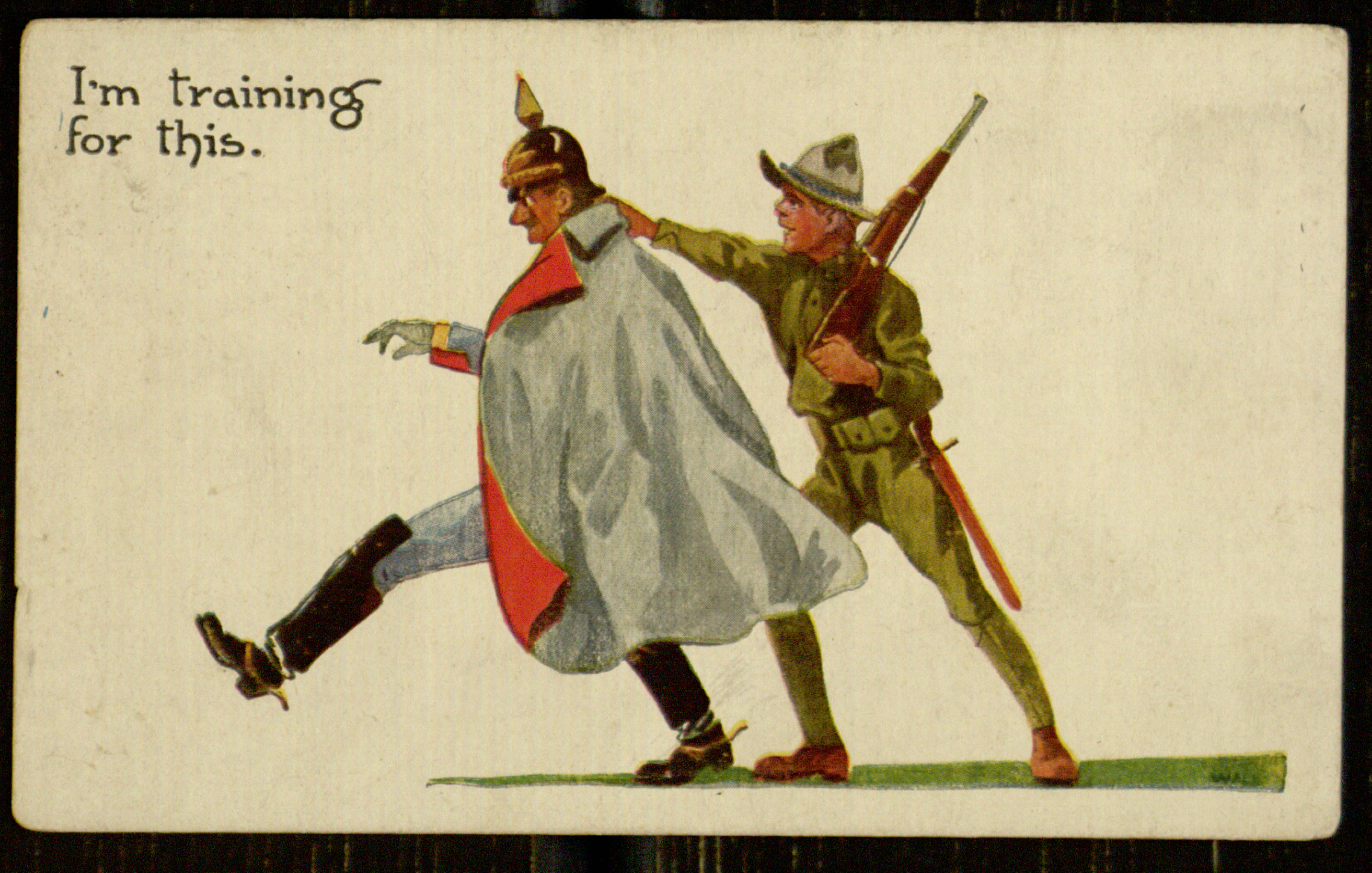 """Postcard, U.S. soldiers tips the Kaiser's helmet, [n.d.]"". Great War. Digital Library @ Villanova University. Date Accessed: 23 September 14, 9:22 AM."