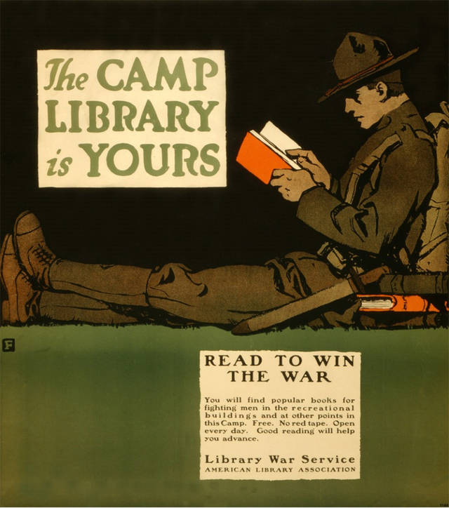 WWI-era American Library Association ad; retrieved from http://boingboing.net/2010/02/14/wwi-pro-reading-ad.html