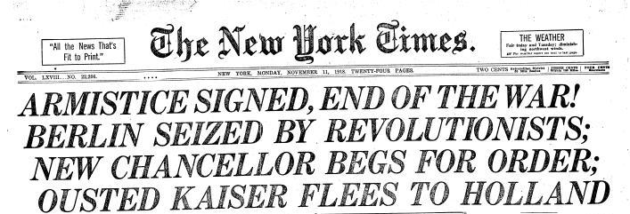 NYTimes-WWI headline 1918