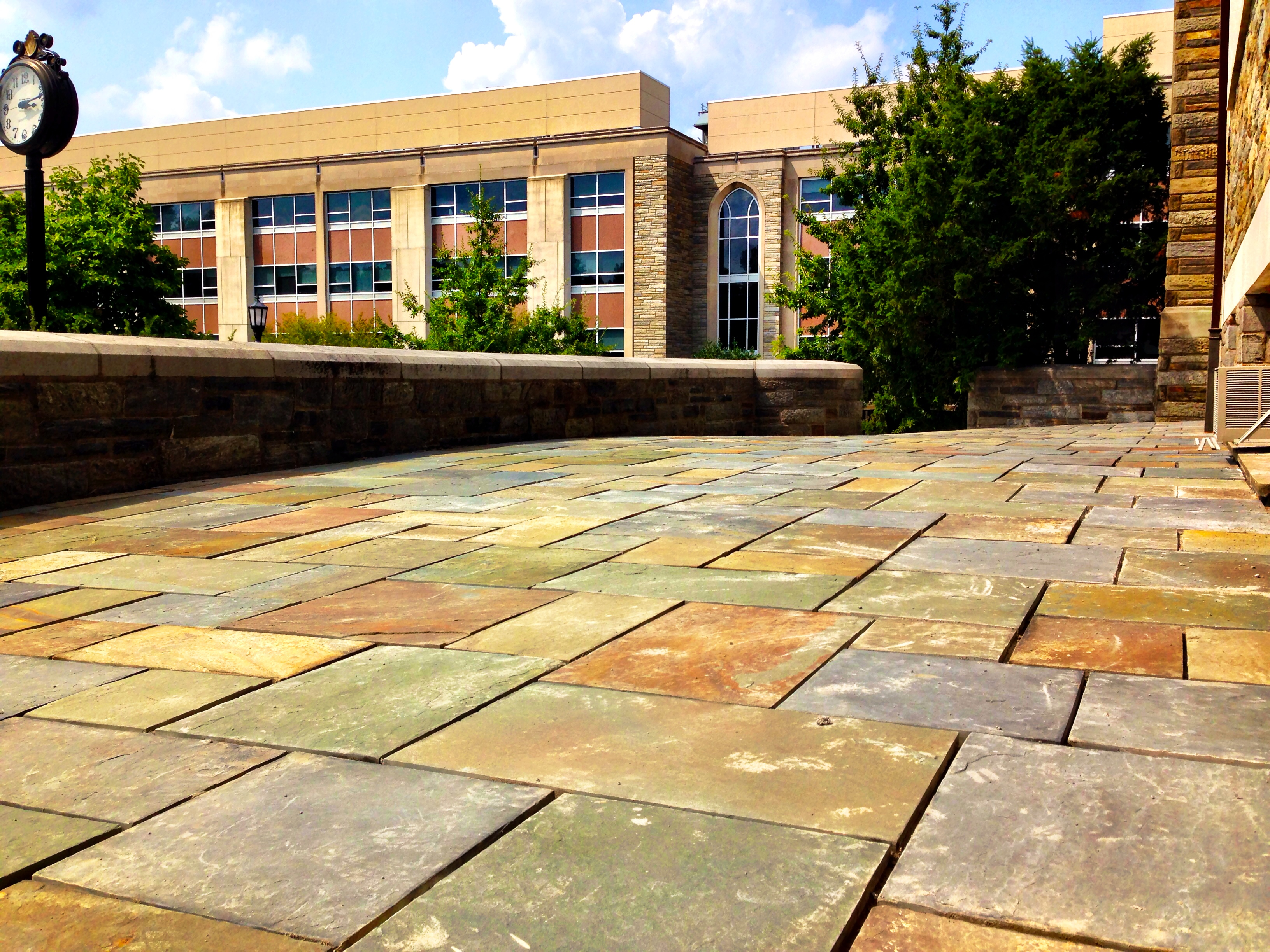Along with improvements to Falvey Hall side patio