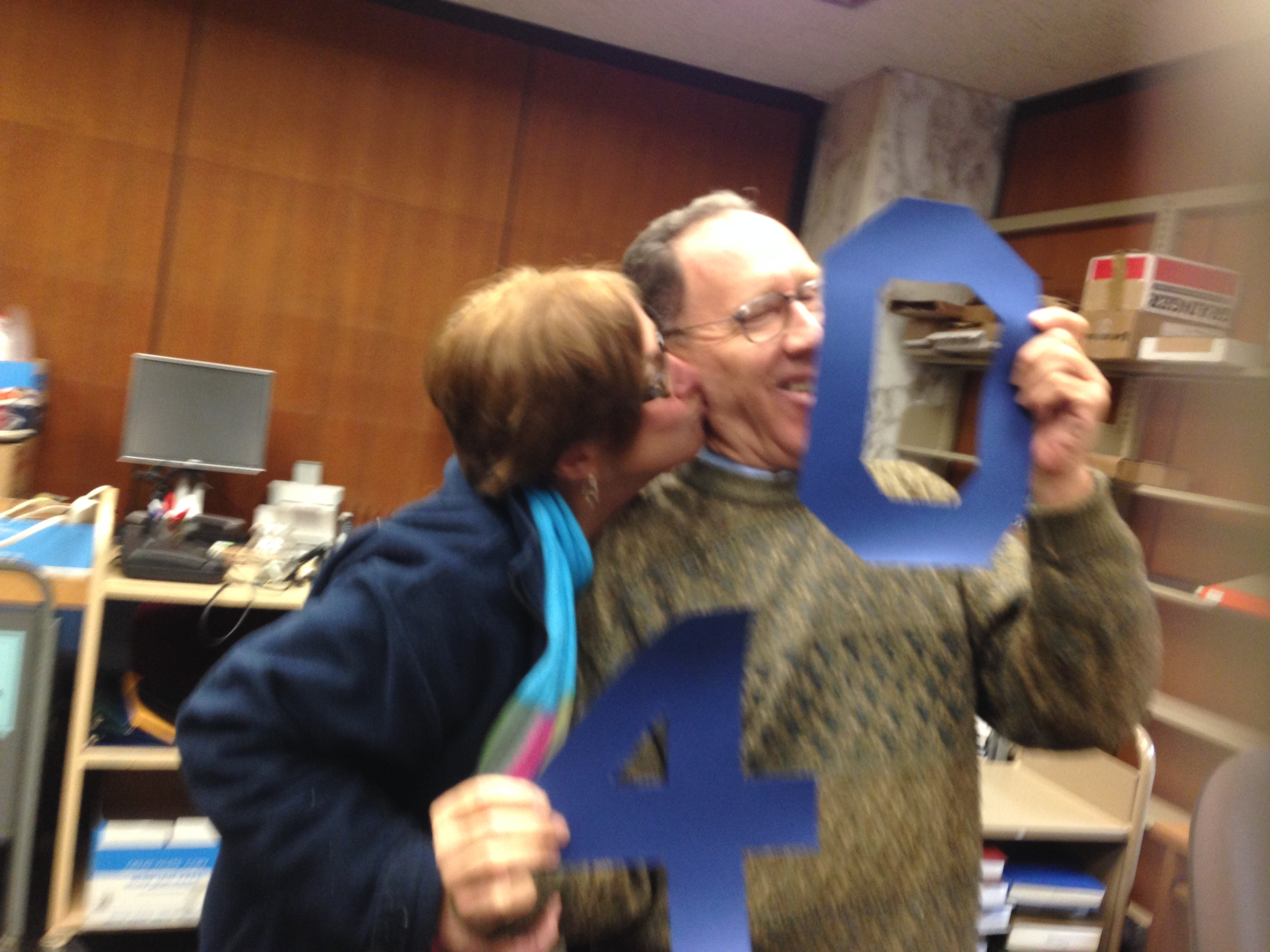 We said congrats to Access Services' Bill Greene for his 40th Year Service Anniversary (here he's getting a congrats kiss from Ann Stango!)