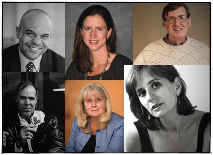 Spring Event Speakers: Clockwise from upper left: Ambar, Quigley, Arms, Sewell, Moriarty and Smith.