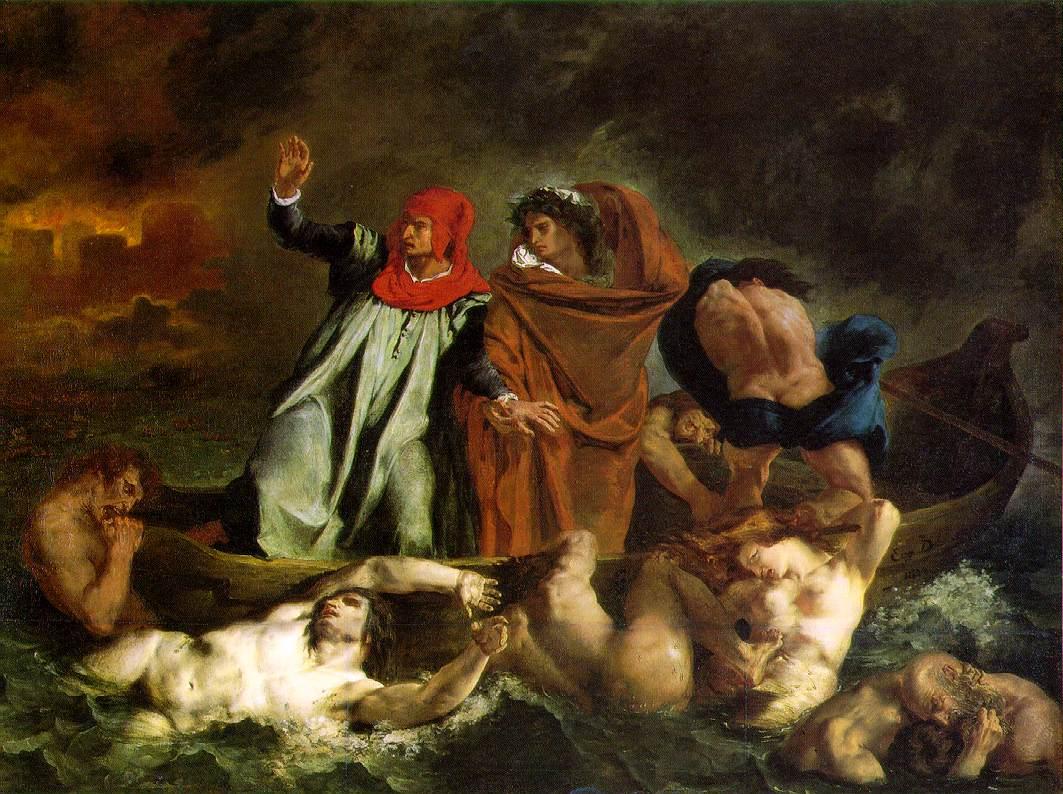 """The Barque of Dante, Delacroix 1822 (150 Kb); Oil on canvas, 189 x 242 cm (74 1/2 x 95 1/4""""); Musee du Louvre, Paris"""