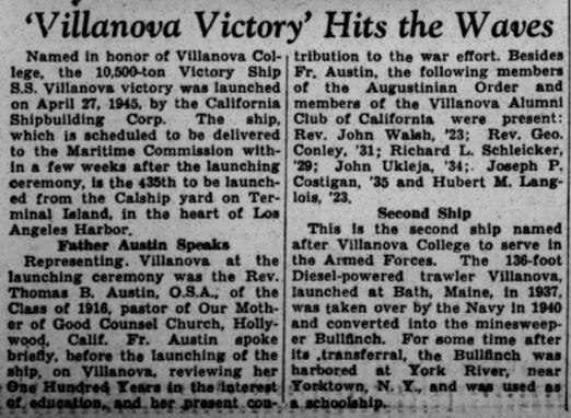 Villanova Victory article May 1945
