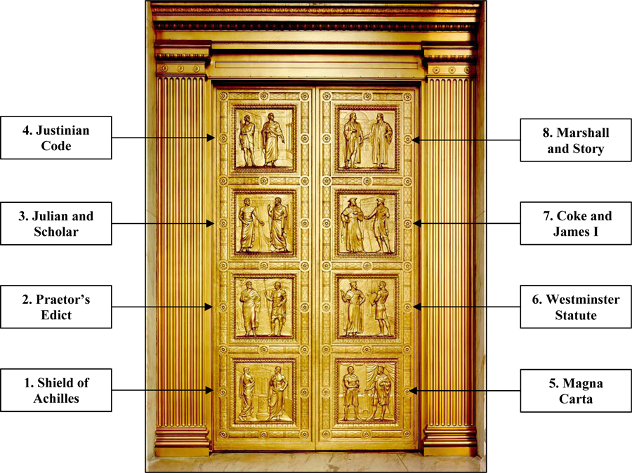On the famous bronze doors of the Supreme Court in Washington DC, there are eight images; three are dedicated to the Magna Carta (5,6 & 7).
