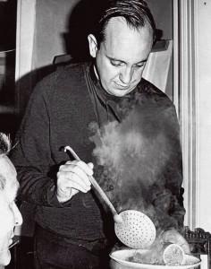 Jorge Bergoglio cooking for Jesuits