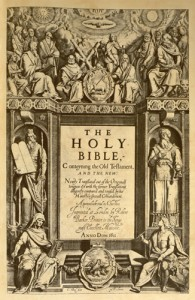 Engraved title page of the 1611 King James Bible.