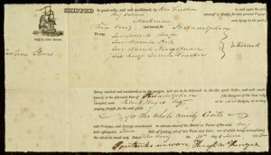 Printed Form, Bill of Lading To: Brig Ontario Bound for Philadelphia, June 30, 1826