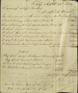 Account Statement, To: Joseph M. Warner in Account with Owners of the Ship Tontine, April 23, 1824