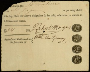 Printed Form, Receipt, To: Patrick Hayes, Ship Tontine.