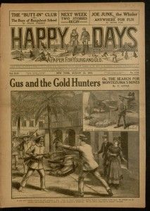 Front cover, Happy days : a paper for young and old, v. XLIV, no. 1139, August 12, 1916.