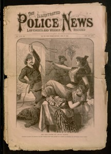 Front cover, The illustrated police news, law courts and weekly record, v. 54, no. 1382, April 15, 1893