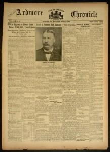Front cover, Ardmore Chronicle - Volume XXIX, No. 28, Saturday, April 13, 1918