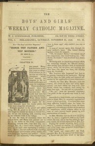 Front cover, The Boys' and Girls' Weekly Catholic Magazine, v. 1, no. 25, Saturday, November 21, 1846
