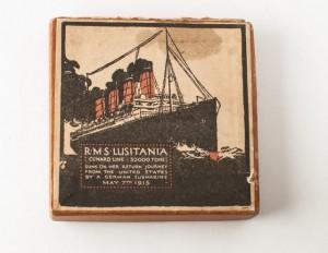 Box, top, Lusitania medal.