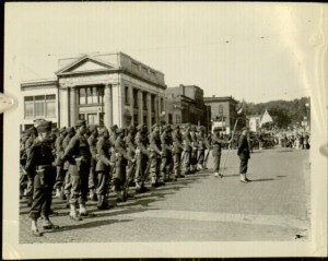 Photograph, A Panoramic View of Company in Formation of African American Troops at Parade Rest on Oswego's [N.Y.] Main Thoroughfare, [n.d.]
