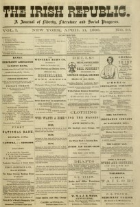 Front cover, The Irish Republic : a journal of liberty, literature, and social progress, v. 1, no. 50, April 11, 1868