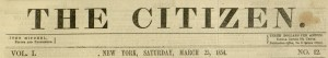 Masthead, The Citizen, v. 1, no. 12, March 25, 1854