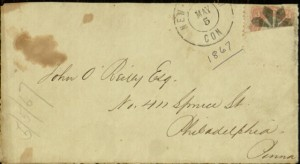 Front, Envelope, To: John O'Reilly Esq, Philadelphia, Penna., May 5, [1867]