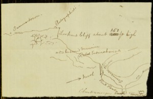 Sketched Map Showing Positions of Hospital, Rebel Entrenchment and Lookout Cliff in Chattanooga by Robert M. O'Reilly, [April, 1864?]
