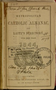 Front cover, The Metropolitan Catholic Almanac and Laity's Directory for the year 1844