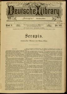 Serapis / von George Ebers - Die Deutsche Library, v. 9, no. 169, January 19, 1885