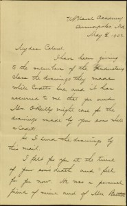 "[1], Letter, To: ""My dear Colonel"" From: F. W. Bartlett, Lt. Cmdr., U.S. Navy, May 8, 1902"