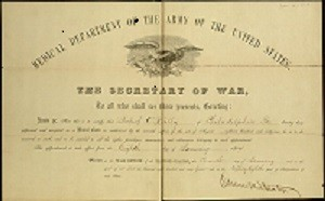 Printed. Military Commission Certificate, To: Robert O'Reilly, Assistant Surgeon, U. S. Army Signed: Andrew Johnson, President of the United States and Edwin M. Stanton, Secretary of War, July 24, 1867.
