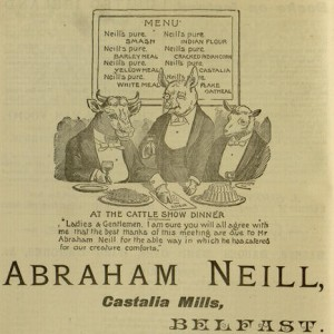 """Abraham Neill, Castalia Mills, Belfast"",  advertisement,  40 p., The Shan Van Vocht, v. I, no. 2, February 7, 1896"