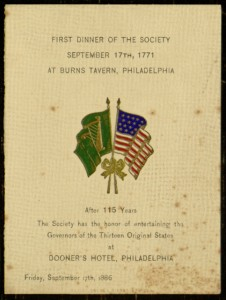 Front cover, Dinner Menu, From: The Hibernian Society of Philadelphia's 115th Anniversary Honoring the Governors of the Original Thirteen States, September 17, 1886