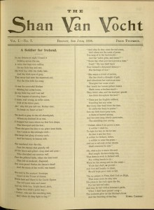 """A Soldier for Ireland"" / Ethna Carbery.  [121] p., The Shan Van Vocht, v. I, no. 7, July 3, 1896"