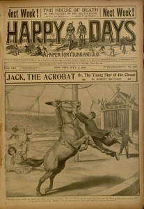 Front cover, illustration for Jack, the Acrobat, from: Happy days : a paper for young and old, v. XXX, no. 768, July 3, 1909