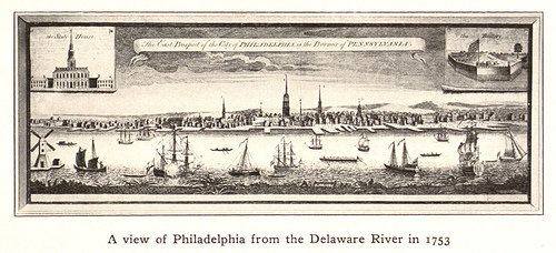 A view of Philadelphia from the Delaware River in 1753.