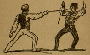 "Illustration of ""The Engage"" (fencing position)"