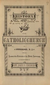 Title page of History of the Catholic Church in Paterson, N.J. (1883)