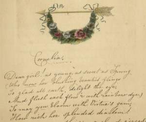 """Handwritten lines from """"Cornelia"""" by A.B. with a decorative illustration."""