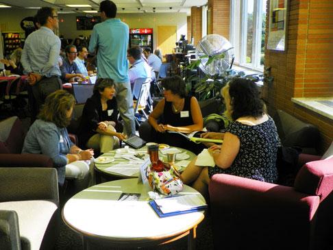 Barbara Quintiliano talks with the Nursing faculty.