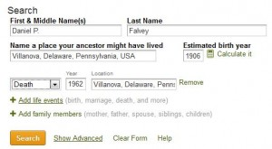 ancestry search screen