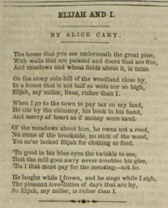 Elijah and I by Alice Cary, p. 8, The New York Ledger, v. XIII, no. 52, March 6, 1858.