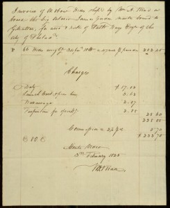 Invoice of Cow Hides Shipped by W. A. Read by the Brig Ontario, February 3, 1825.