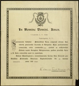 Certificate. Elizabeth S. F. Kite Recognized by the Order of Franciscans (O.F.M.), January 16, 1923.