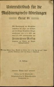 Title page,  Das Maschinengewehr 08.
