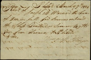 Receipt, To: Mate for Wages Owed From: Captain Joseph M. Warner, March 27, 1824