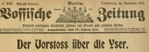 Masthead and lead title,  Vossische Zeitung, No 577, Evening Edition, November 12, 1914.