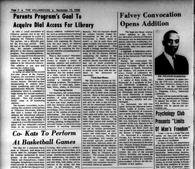 Falvey addition article Villanovan 1968